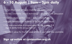 CYMT Summer Music Course 6-8th August 2018